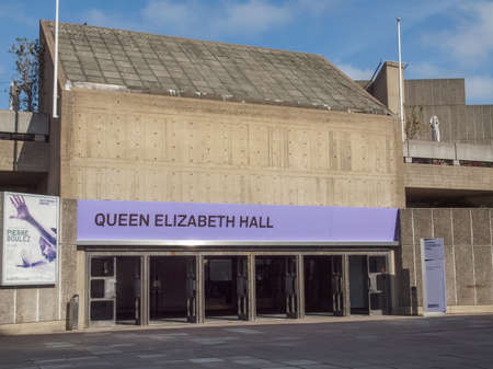 music venue: LONDON, ENGLAND, UK - SEPTEMBER 27, 2011: Queen Elizabeth Hall iconic masterpiece of the New Brutalism and world class music venue part of the South Bank Centre Editorial