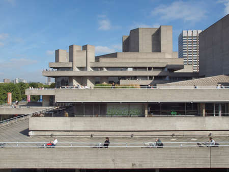 masterpiece: LONDON, ENGLAND, UK - SEPTEMBER 27, 2011: The Royal National Theatre iconic masterpiece of the New Brutalism designed by architect Sir Denys Lasdun