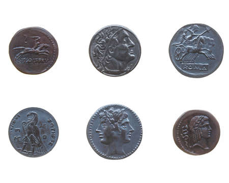 greek coins: Ancient Roman and Greek coins isolated over white Stock Photo