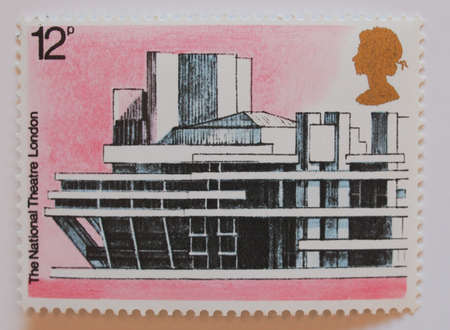 LONDON, UK - CIRCA 1975: The National Theatre in London on celebrative European Architectural Heritage Year stamp