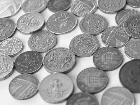 pound coins: Macro image of British pound coins money Stock Photo