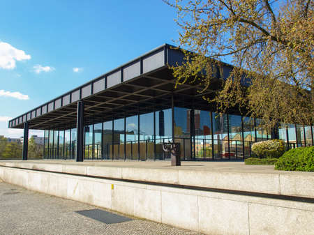 der: BERLIN, GERMANY - APRIL 23, 2010: The Neue Nationalgalerie art gallery is a masterpiece of modern architecture designed by Mies Van Der Rohe in 1968 as part of the Kulturforum