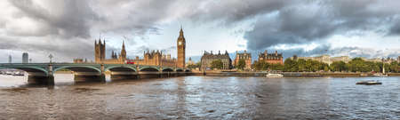 High Dynamic Range (HDR) panoramic view of the River Thames, Houses of Parliament and the Big Ben, Westminster Bridge in London photo