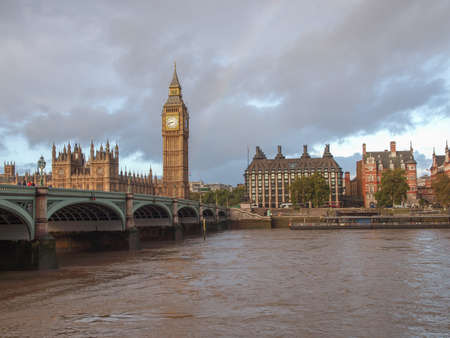 Westminster Bridge panorama with the Houses of Parliament and Big Ben in London UK photo