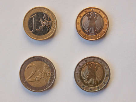 One and Two Euro coins currency of the European union common side and German side