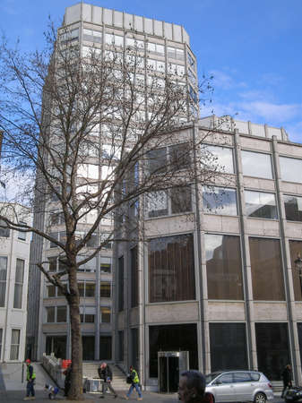 economist: LONDON, ENGLAND, UK - MARCH 04, 2009: The Economist Building designed in 1962 by Alison and Peter Smithson is a masterpiece of new brutalist architecture also featured in the opening scene of Michelangelo Antonioni movie Blow Up