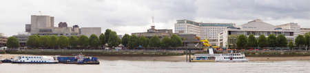 LONDON, UK - OCTOBER 23, 2013: Panoramic view of the South Bank Centre on River Thames with (left to right) the National Theatre, the Queen Elizabeth Hall and Purcell Room and the Royal Festival Hall