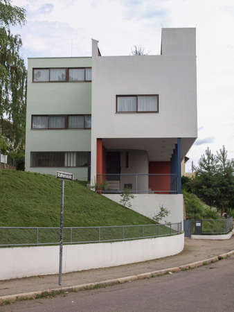 der: STUTTGART, GERMANY - JULY 11, 2012: The Weissenhof Siedlung model houses were designed in 1927 for the modern architecture exhibition by major rationalist architects of the time under the masterplan of Mies Van Der Rohe