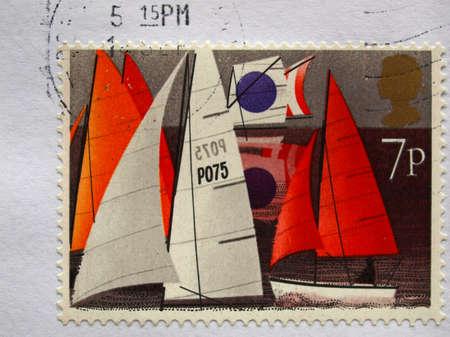 LONDON, UK - SEPTEMBER 18, 2009: British postage stamp with ships