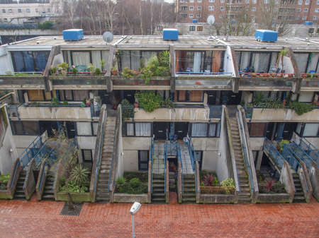 alexandra: LONDON, ENGLAND, UK - MARCH 04, 2009: The Alexandra Road estate designed in 1968 by Neave Brown applies the terraced house model to high-density public housing is a masterpiece of new brutalist architecture