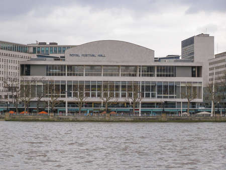 LONDON, ENGLAND, UK - MARCH 06, 2008: The Royal Festival Hall built as part of the Festival of Britain national celebrations in 1951 is still in use as a major music and entertainment venue