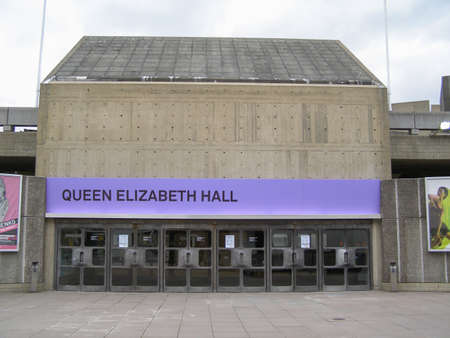 music venue: LONDON, ENGLAND, UK - MARCH 06, 2008: Queen Elizabeth Hall iconic masterpiece of the New Brutalism and world class music venue part of the South Bank Centre Editorial