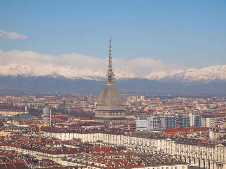 Turin skyline panorama seen from the hills surrounding the city photo
