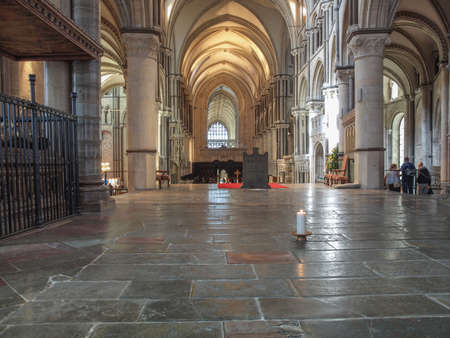 murdered: CANTERBURY, UK - SEPTEMBER 11, 2012: A candle burns continuously to mark the place where Saint Thomas Becket was murdered in Canterbury Cathedral in 1170