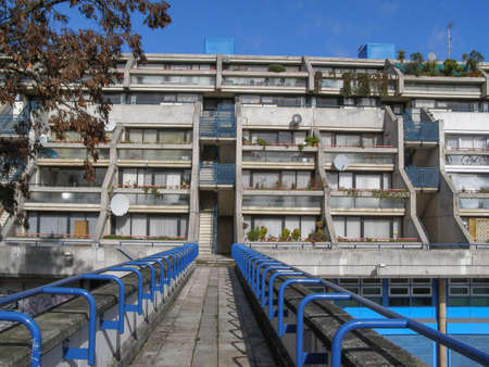 applies: LONDON, ENGLAND, UK - MARCH 07, 2008: The Alexandra Road estate designed in 1968 by Neave Brown applies the terraced house model to high-density public housing is a masterpiece of new brutalist architecture