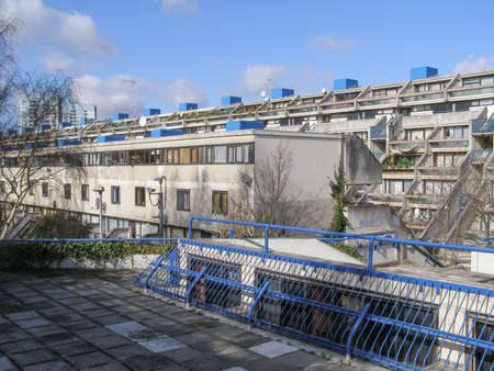 alexandra: LONDON, ENGLAND, UK - MARCH 07, 2008: The Alexandra Road estate designed in 1968 by Neave Brown applies the terraced house model to high-density public housing is a masterpiece of new brutalist architecture