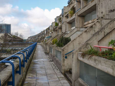 applies: LONDON, ENGLAND, UK - MARCH 04, 2009: The Alexandra Road estate designed in 1968 by Neave Brown applies the terraced house model to high-density public housing is a masterpiece of new brutalist architecture