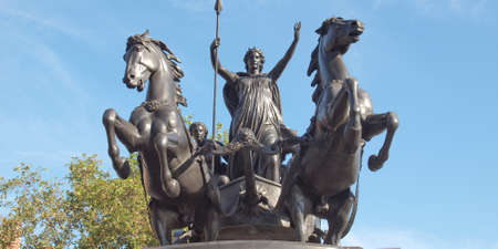 invader: Statue of Boadicea Boudicca Queen of the Iceni who died AD 61 after leading her people against the Roman invader in UK Editorial