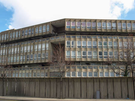 LONDON, ENGLAND, UK - MARCH 05, 2009: The Robin Hood Gardens housing estate designed in late sixties by Alison and Peter Smithson is a masterpiece of new brutalist architecture