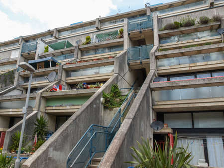 applies: LONDON, ENGLAND, UK - MAY 06, 2010: The Alexandra Road estate designed in 1968 by Neave Brown applies the terraced house model to high-density public housing is a masterpiece of new brutalist architecture