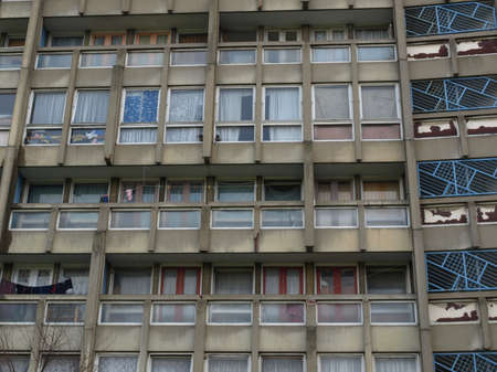 late sixties: LONDON, ENGLAND, UK - MARCH 05, 2009: The Robin Hood Gardens housing estate designed in late sixties by Alison and Peter Smithson is a masterpiece of new brutalist architecture Editorial