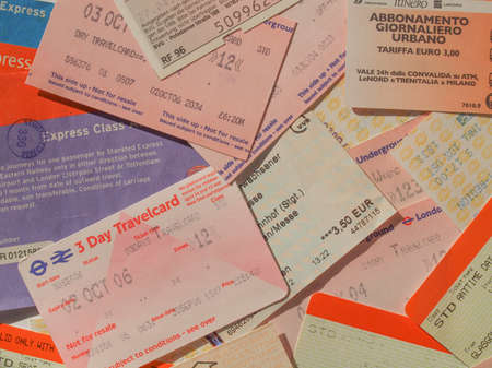 ticketing: LONDON, UK - FEBRUARY 6, 2014: Set of vintage concert tickets of many international pop and rock artists