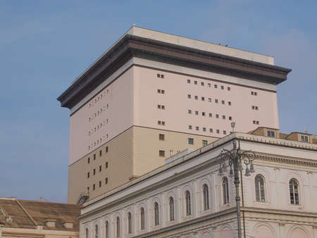 felice: GENOA, ITALY - MARCH 16, 2014: The Teatro Carlo Felice opera house was designed by architect Aldo Rossi following the destruction of the old theatre by fire