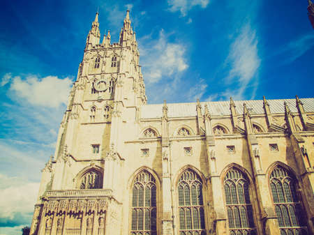 Vintage retro looking The Canterbury Cathedral in Kent England UK photo