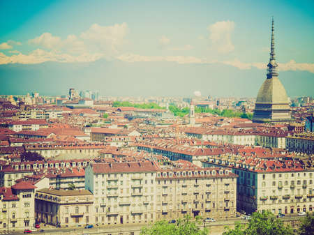 birdeye: Vintage retro looking City of Turin (Torino) skyline panorama seen from the hill