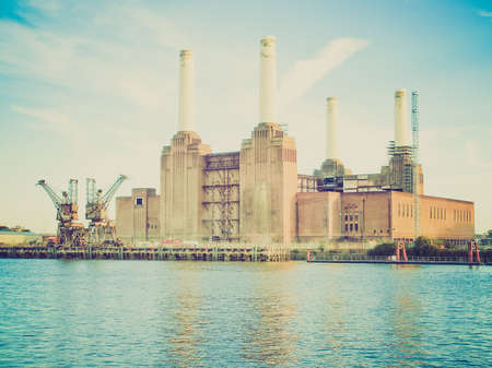 Vintage retro looking Battersea Power Station in London England UK