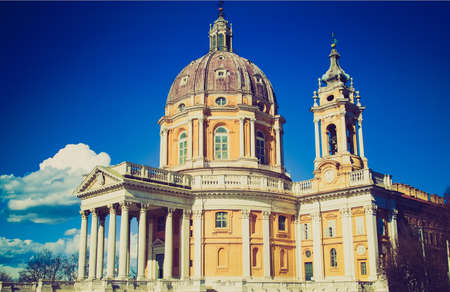 Vintage retro looking The baroque Basilica di Superga church on the Turin hill, Italy photo