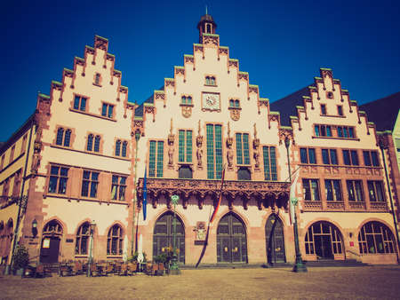 roemer: Vintage retro looking Frankfurt city hall aka Rathaus Roemer Germany