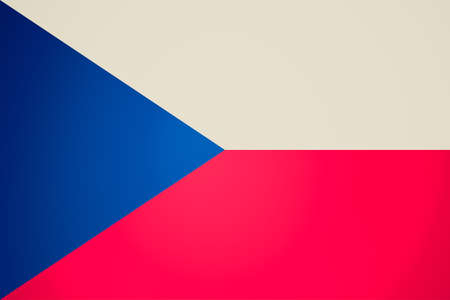 ceska: Vintage retro looking Flag of the Czech Republic - Proportions: 3:2 - Colours: Red, Blue, White Stock Photo