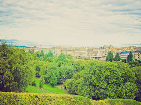 looking at view: Vintage retro looking View of the city of Edinburgh in Scotland