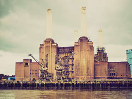 Vintage retro looking Battersea Power Station, London, England, UK