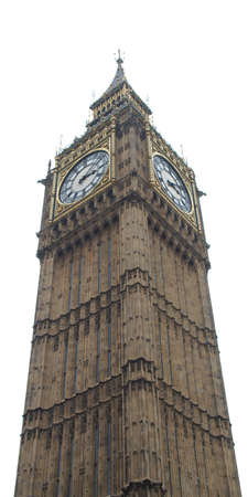bigben: Big Ben Houses of Parliament Westminster Palace London gothic architecture - isolated over white background