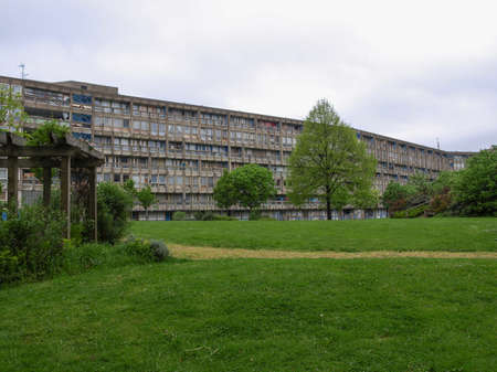 LONDON, ENGLAND, UK - MARCH 05, 2009: The Robin Hood Gardens housing estate designed in late sixties by Alison and Peter Smithson is a masterpiece of new brutalist architecture Editorial