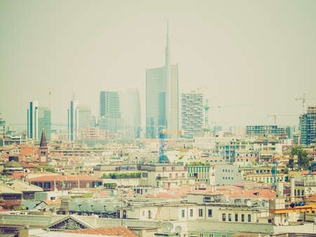 Vintage looking View of the city of Milan Milano in Italy photo