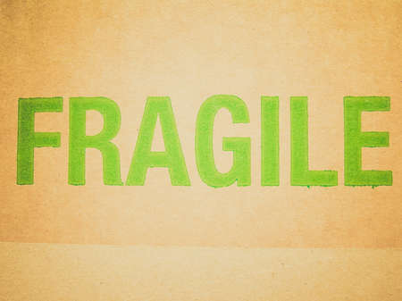 Vintage looking Fragile written on corrugated cardboard box picture