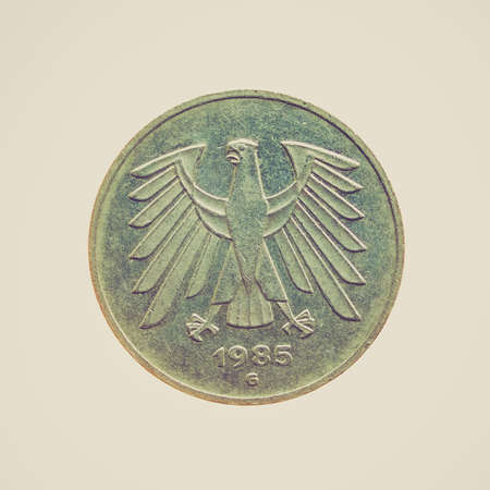 german mark: Vintage looking Five Deutsche Mark coin isolated over a white background