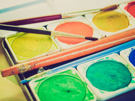 creativeness: Vintage looking Painting tools with colour palette and brushes