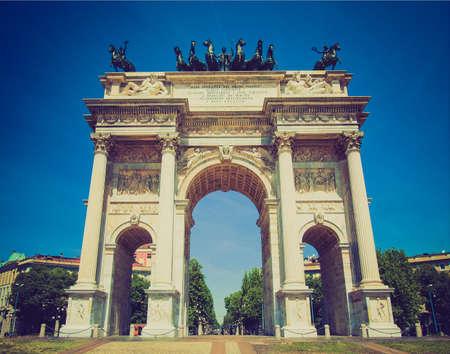 pace: Vintage looking Arco della Pace  Arch of Peace , Porta Sempione, Milan, Italy