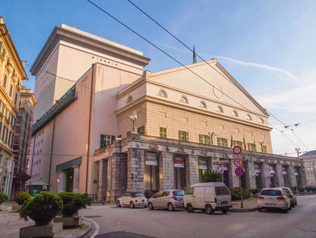 felice: GENOA, ITALY - MARCH 16, 2014: The Teatro Carlo Felice opera house was designed by architect Aldo Rossi in 1991 following the destruction of the old theatre by fire