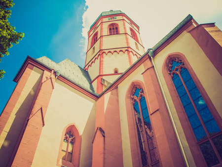 mainz: Vintage looking St Stephan church in Mainz in Germany