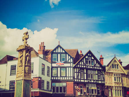 Vintage looking Old wooden frame Tudor buildings in the City of Canterbury in Kent England UK photo