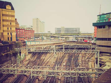 midlands: Vintage looking Railway or railroad tracks at Birmingham train station
