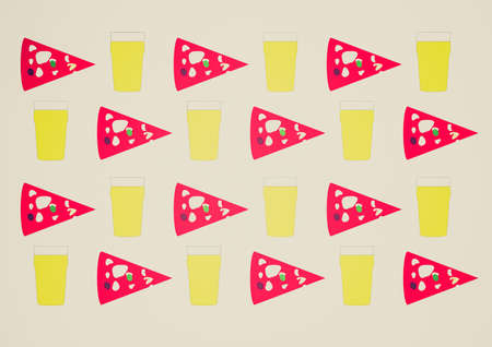 margherita: Vintage looking Background with beer pint and pizza slice Stock Photo
