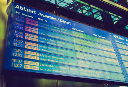 spandau: Vintage looking Timetable display screen of arrivals and departures at station or airport