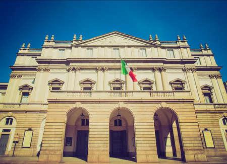 scala: Vintage looking Teatro alla Scala theatre in Milan, Italy Editorial
