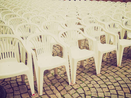 gig: Vintage looking Rows of chairs for outdoor dehors alfresco bar and live gig concert open air events